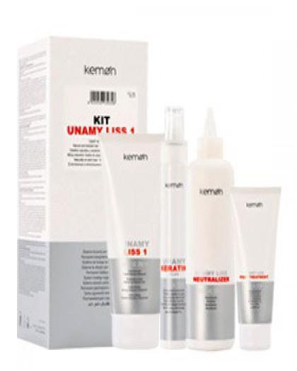 Kit Unamy Liss 1.  Система для перманентного выпрямления волос ( выпр. крем+ спрей керат+нейтр+маск)